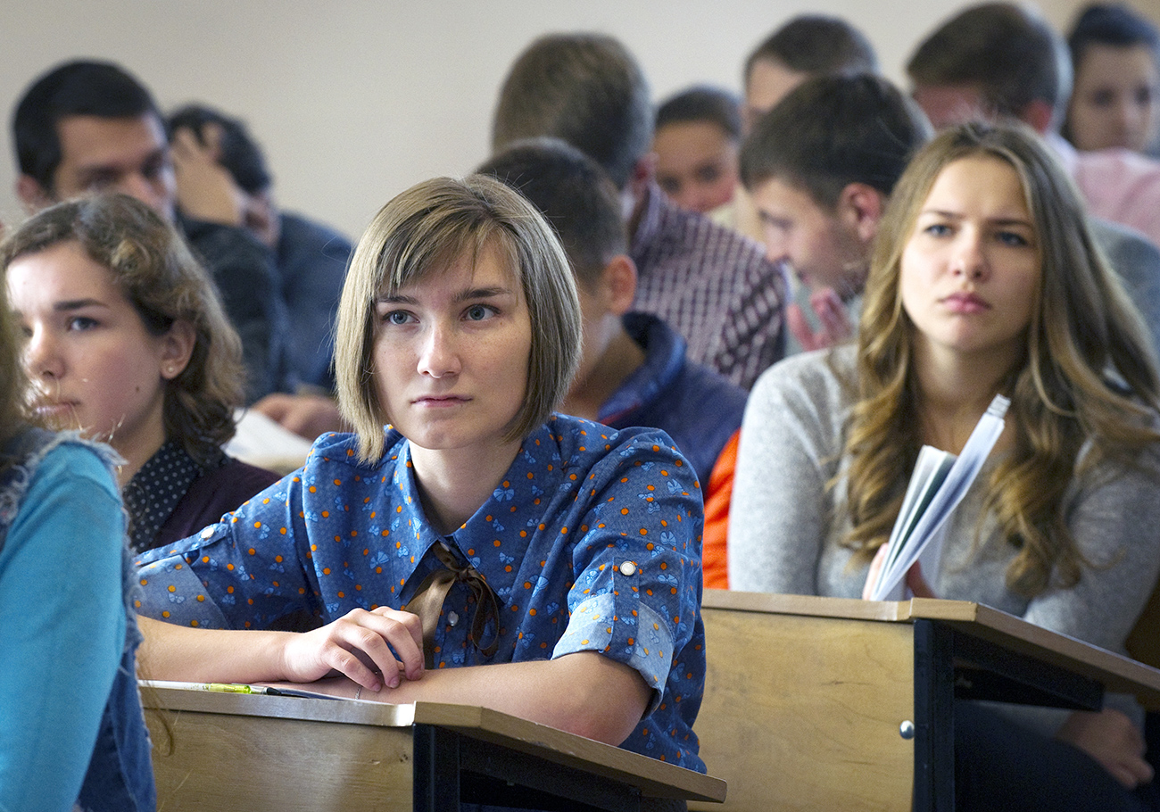 Fifty-four percent of Russians between the ages of 25 and 64 have university degrees. Photo: Students of the Philosophy Department of the Taurida Academy of the Vernadsky Crimean Federal University in Simferopol.