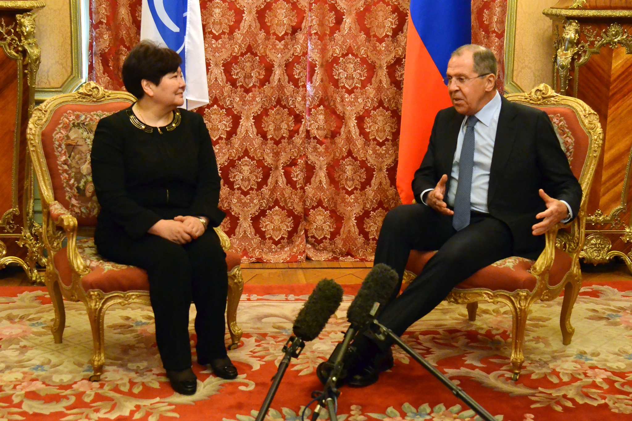 Russian Foreign Minister Sergey Lavrov during the meeting with the OSCE Special Representative and Coordinator for Combating Trafficking in Human Beings, Madina Jarbussynova.