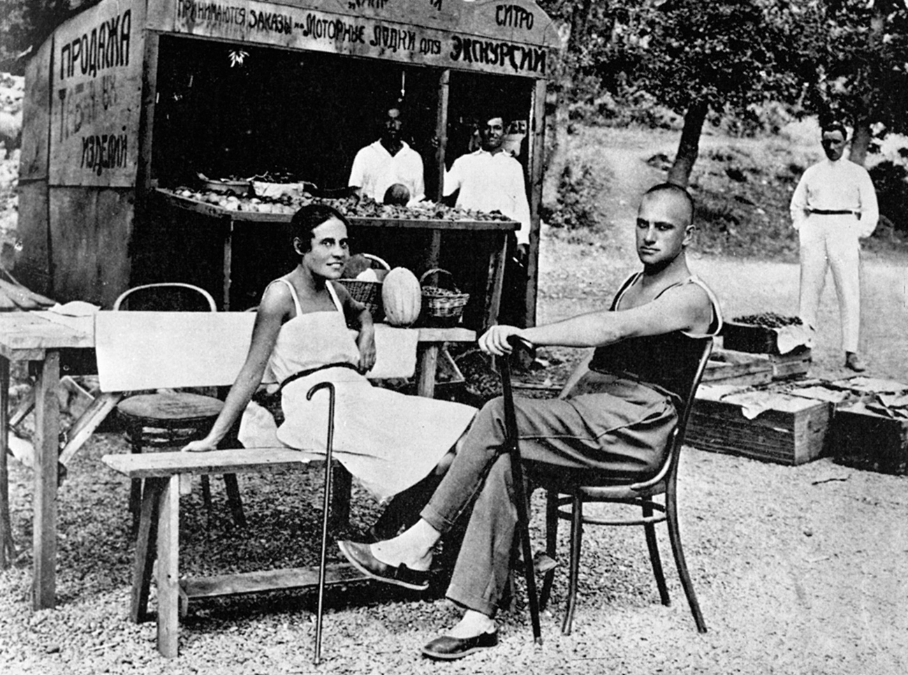 Poet Vladimir Mayakovsky (right) and Lilia Brik (left) on vacation.