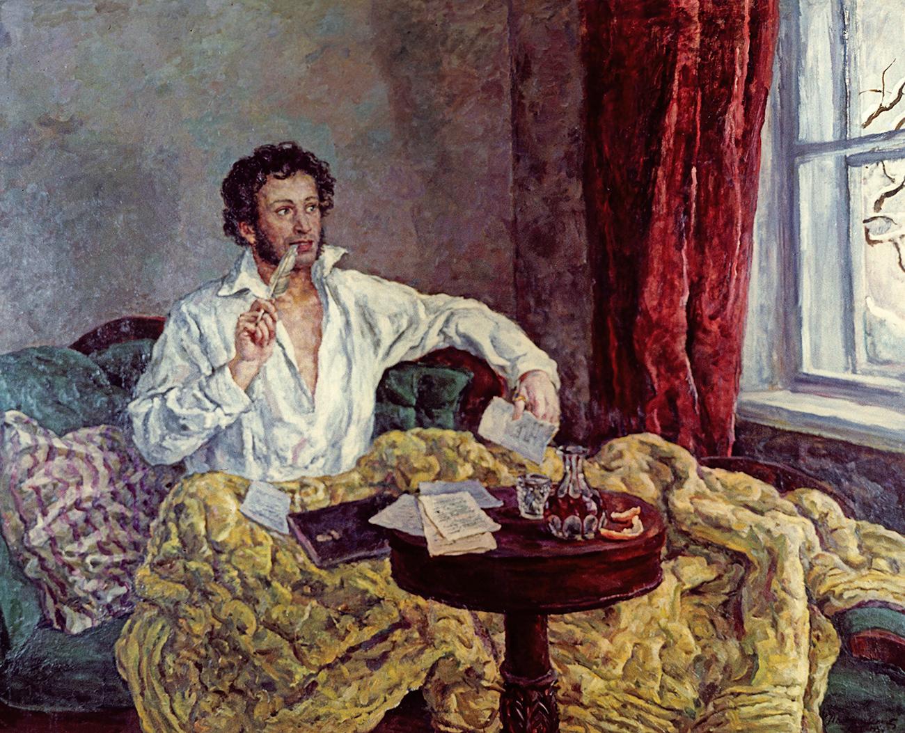 Retrato de Alexander Pushkin realizado por Piotr Konchalovski (1932).