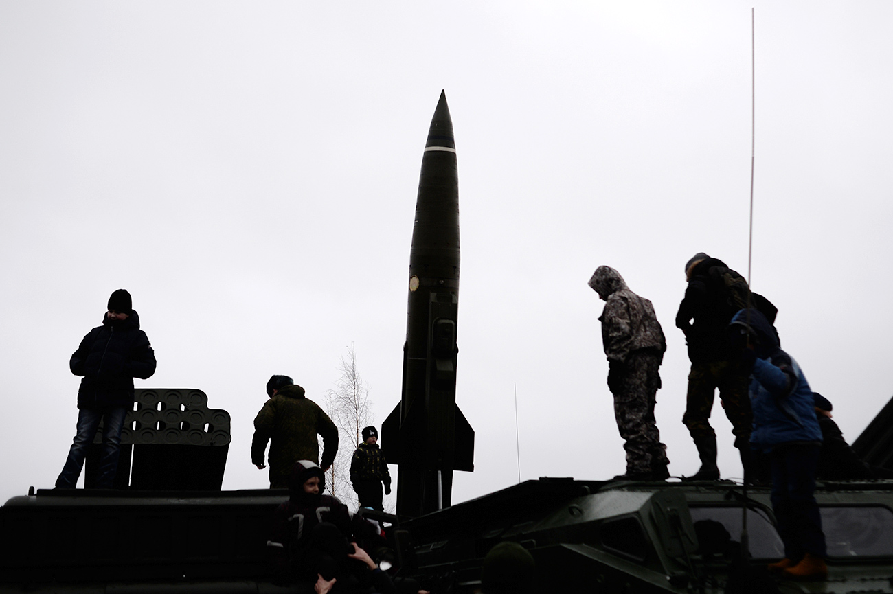 Tochka-U tactical missile complex shown during an exhibition of weapons at the Luga training ground, Leningrad Region.