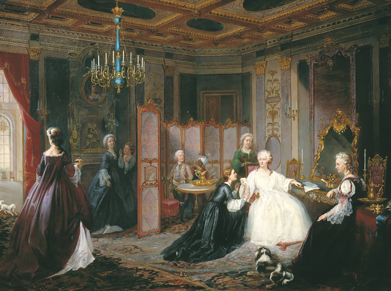 Empress Catherine the Great receiving a letter, 1861, painted by Ivan Miodushevsky.