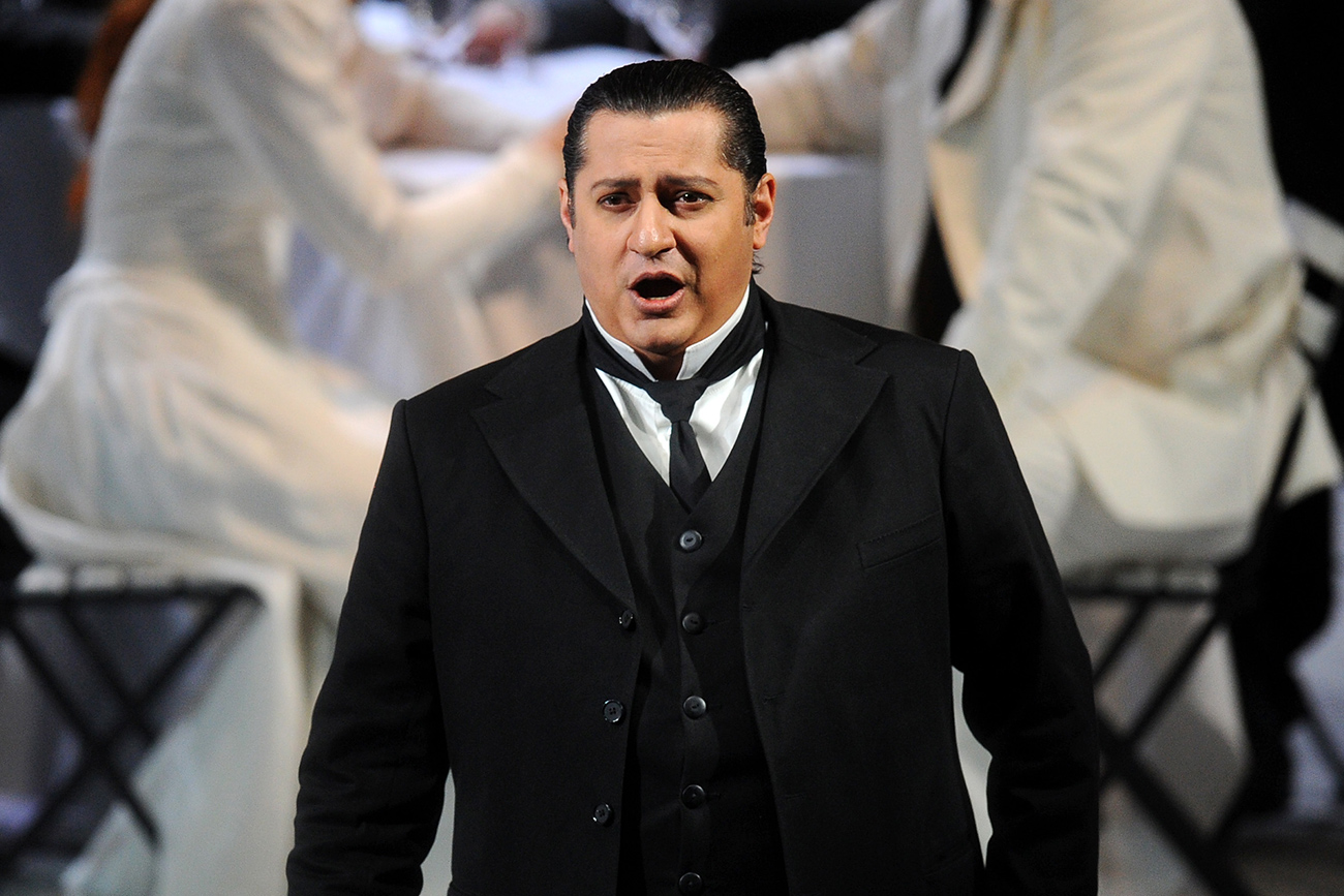 Nikolai Didenko as count Rodolfo in a scene from La Sonnambula opera during the dress rehearsal.