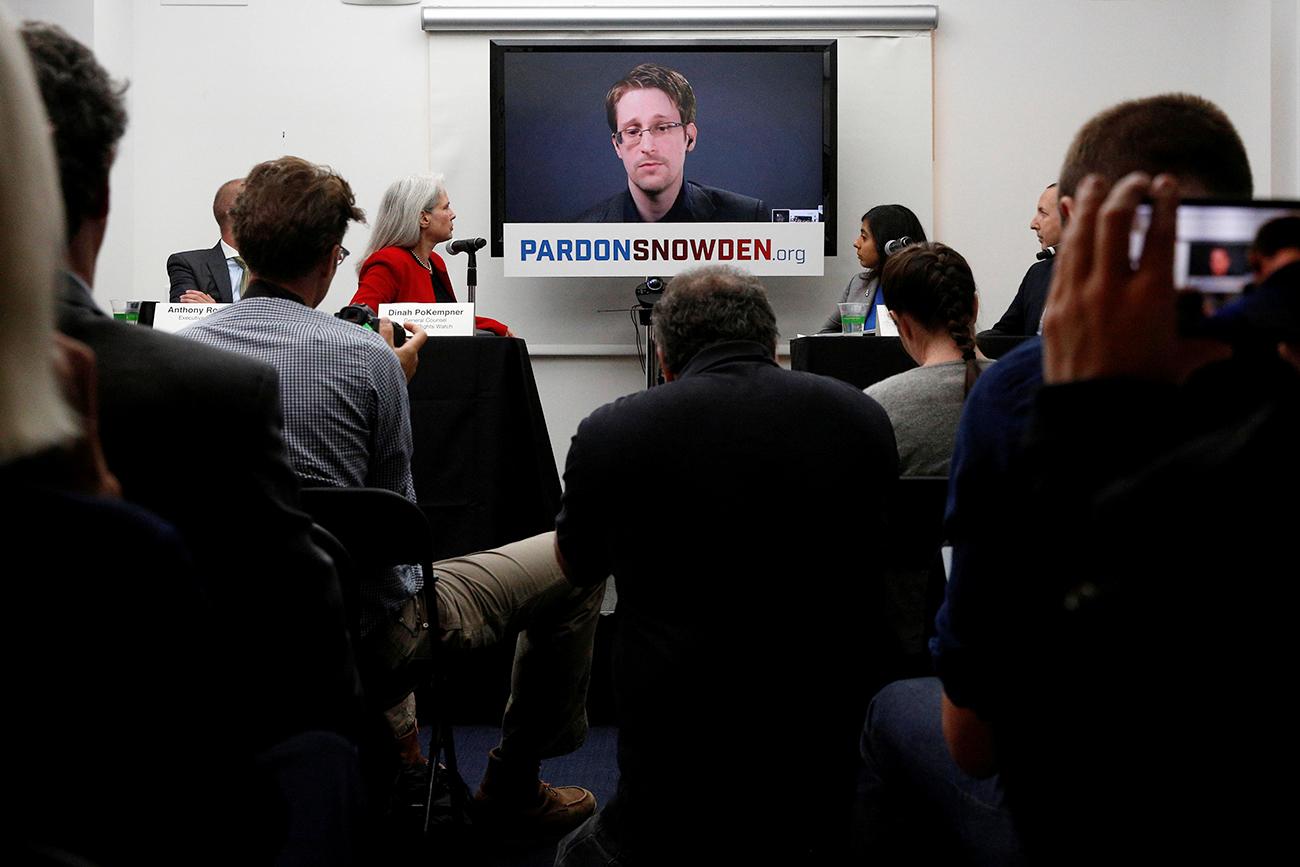 Snowden en conferencia de prensa en Nueva York, el 14 de septiempre de 2016.