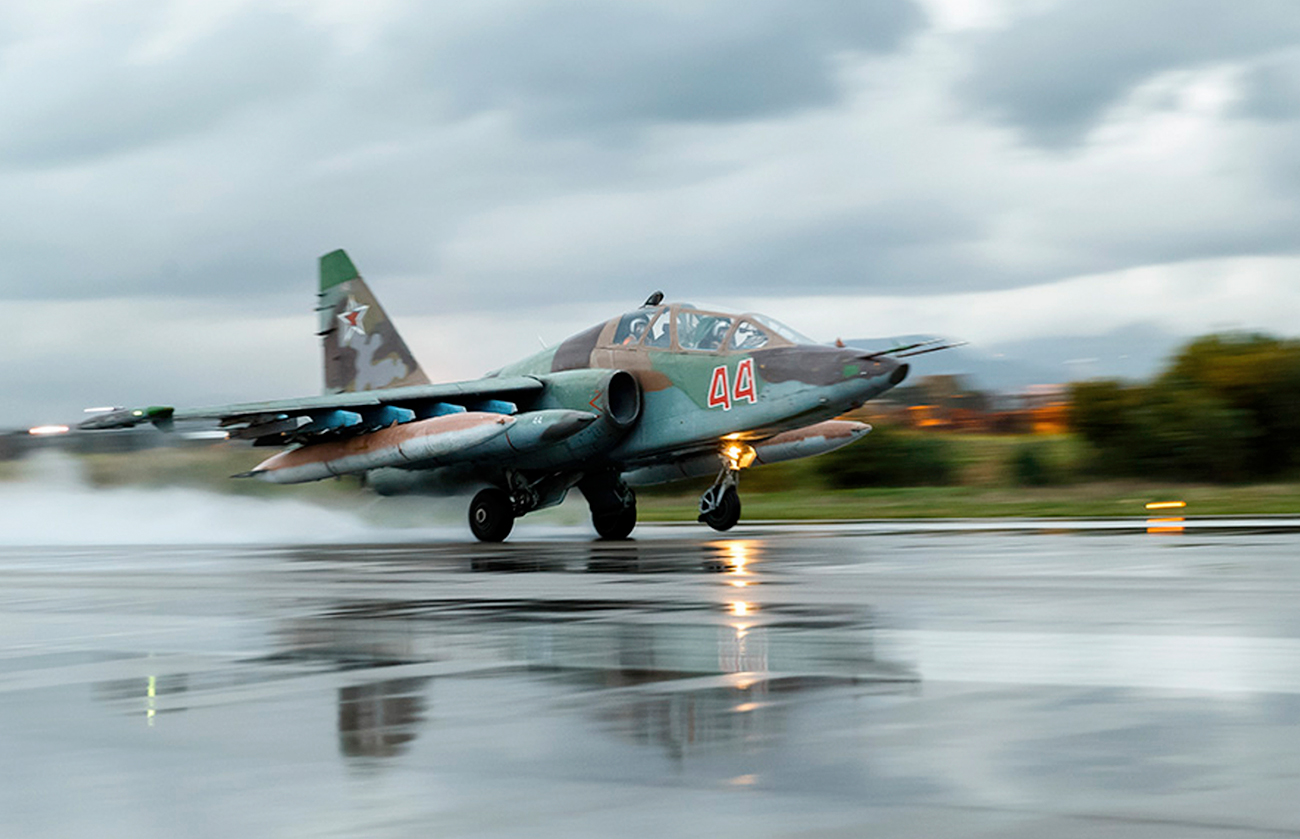 Russian Su-25 ground attack jet takes off at Hemeimeem air base in Syria.
