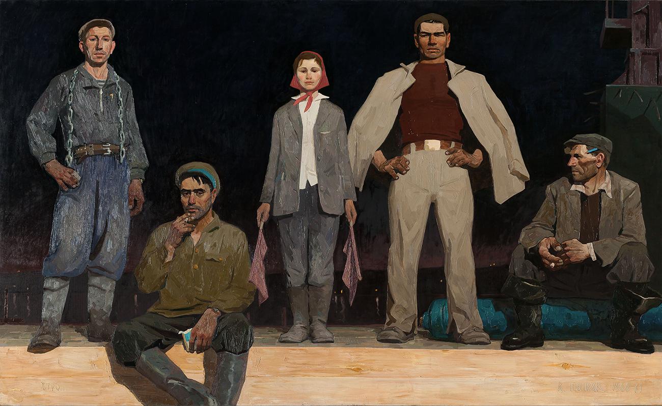 """""""Ottepel, das Tauwetter"""" – hieß in der UdSSR die Zeit unter Nikita Chruschtschow. Die neue politische Epoche fing an mit dem Tod Josef Stalins in 1953. // Viktor Popkov, """"Die Bauarbeiter von Bratsk"""", 1960–1961"""