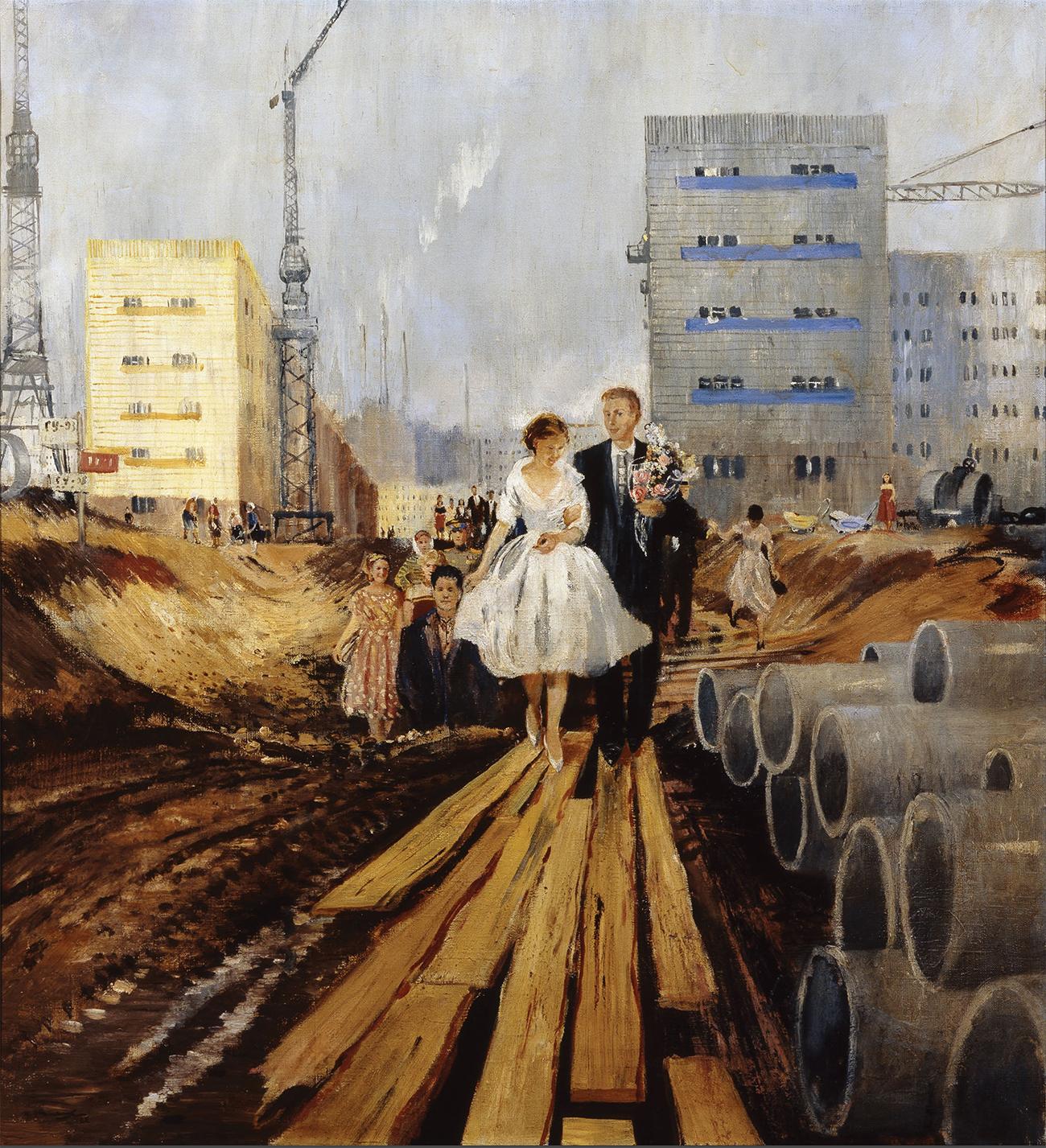 """Wie die Kunst diese Zeit widerspiegelte, zeigt eine Ausstellung, die jüngst in der Tretjakow-Galerie eröffnet wurde. // Yuri Pimenov, """"Hochzeit auf der Straße der Zukunft"""",1962."""