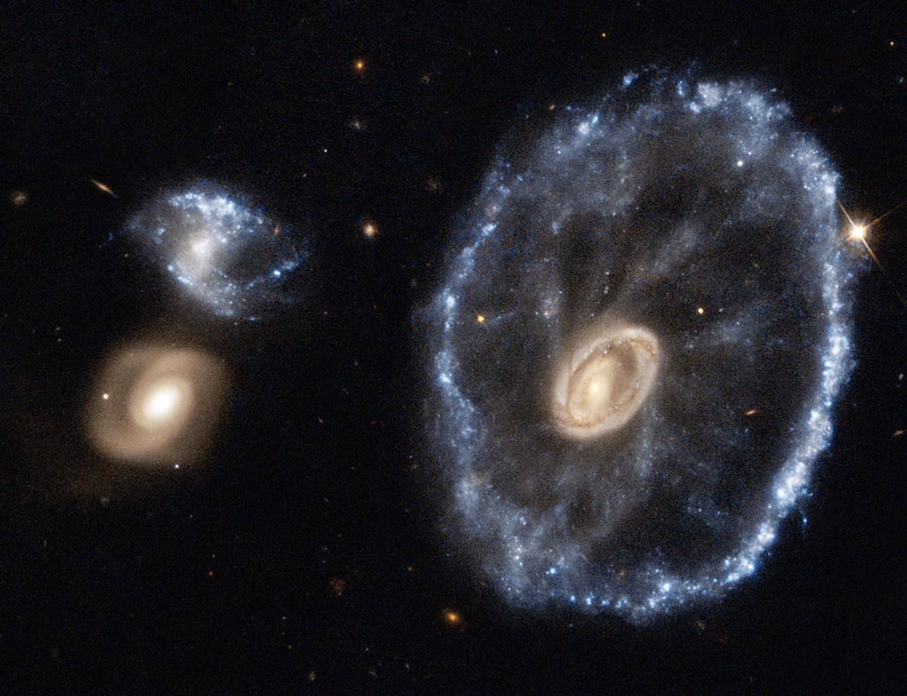La Galassia Ruota di Carro è situata in direzione della costellazione dello Scultore alla distanza di circa 500 milioni di anni luce dalla Terra. Le sue dimensioni sono stimate in circa 150.000 anni luce di diametro, quindi leggermente superiori a quelle della Via Lattea