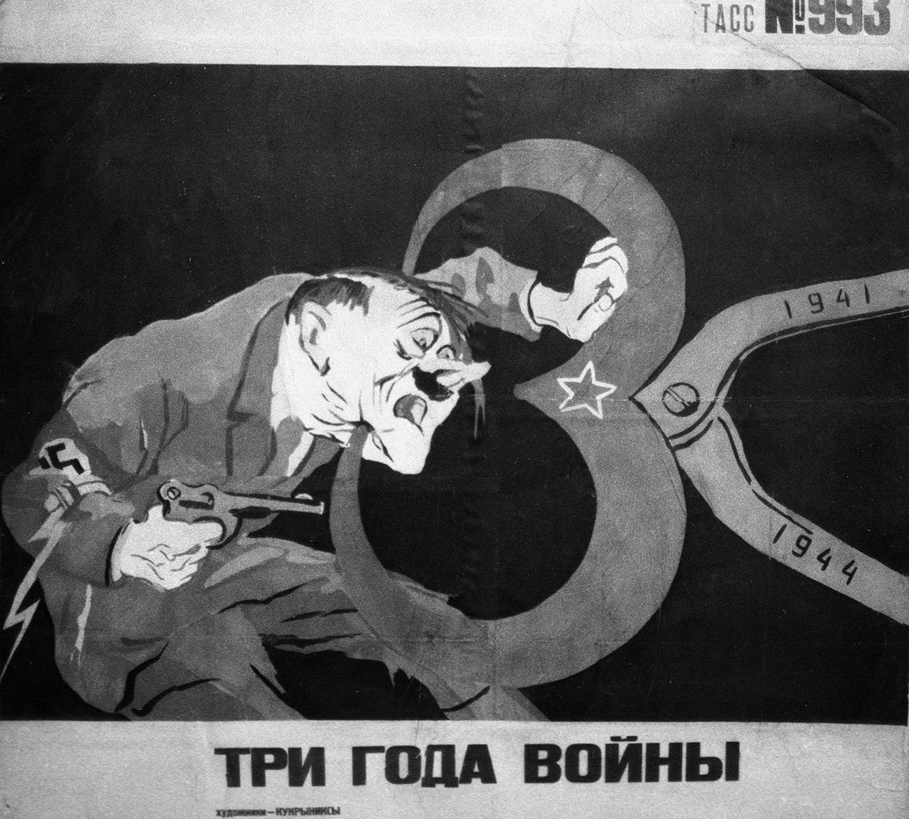 Plakat z naslovom Tri leta vojne umetniške skupine Kukriniksi.