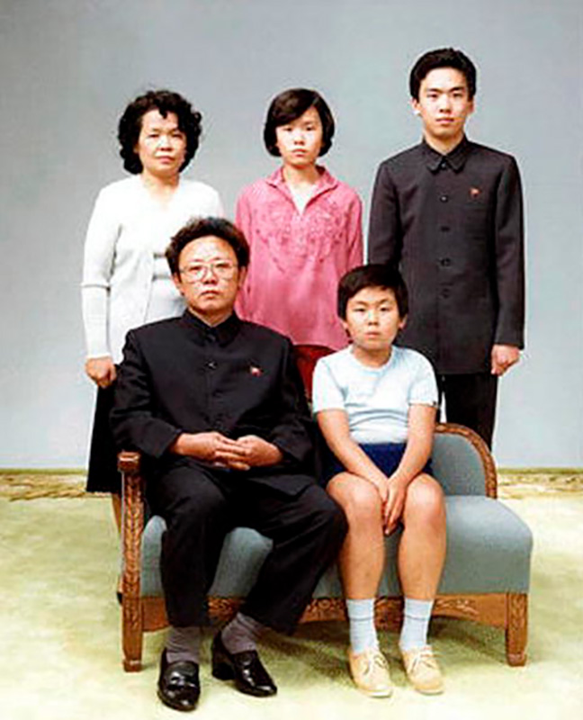 Kim Jong-Il, bottom left, poses with eldest Kim Jong-nam, bottom right, in this 1981 family photo In Pyongyang, North Korea. / Getty images