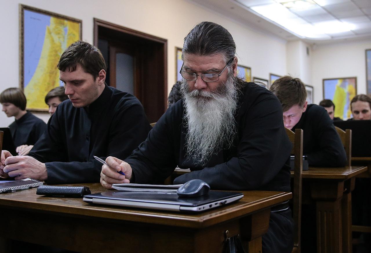 Sacerdoti a lezione in un seminario di Mosca, 7 luglio 2016\n