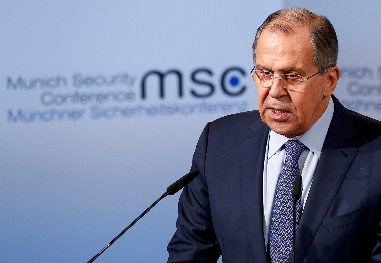 Russia's Foreign Minister Sergey Lavrov delivers his speech during the 53rd Munich Security Conference in Munich, Germany, February 18, 2017.