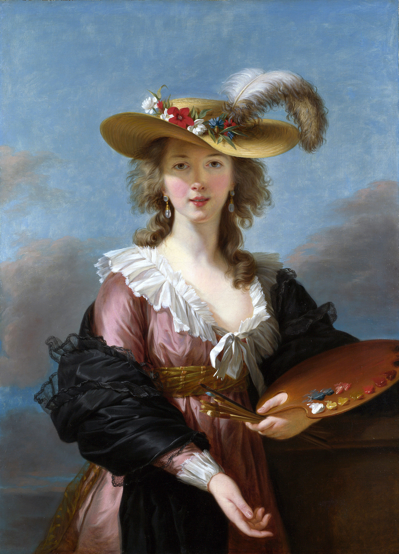 Elizabeth Vigée-Lebrun.  Self-portrait in a Straw Hat