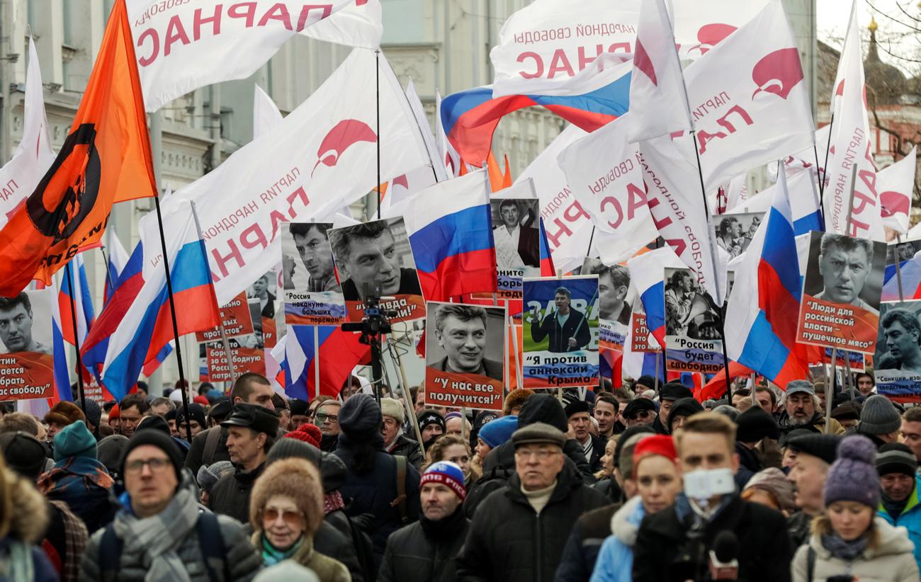 La marcia nel centro di Mosca. Fonte: Reuters