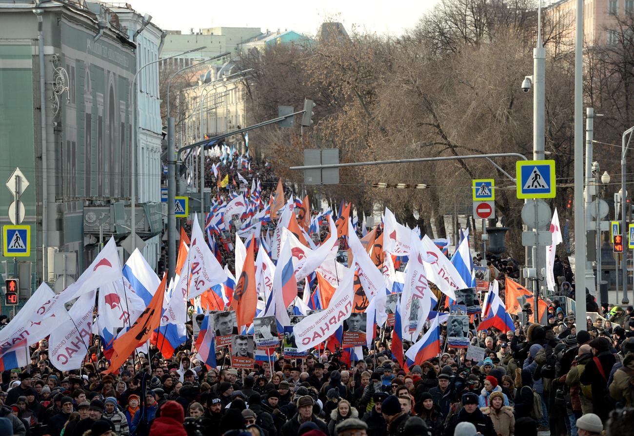 La marcia nel centro di Mosca. Fonte: Iliya Pitalev/RIA Novosti