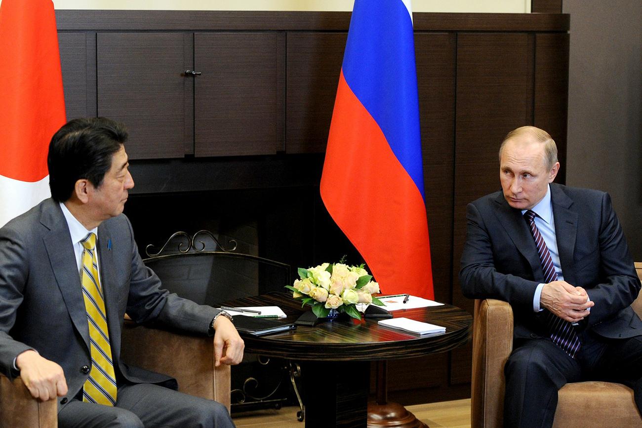 安倍晋三首相は昨年5月、ロシア南部のソチを訪問し、ウラジーミル・プーチン大統領に8項目からなる「日露関係発展プラン」を提示した。=