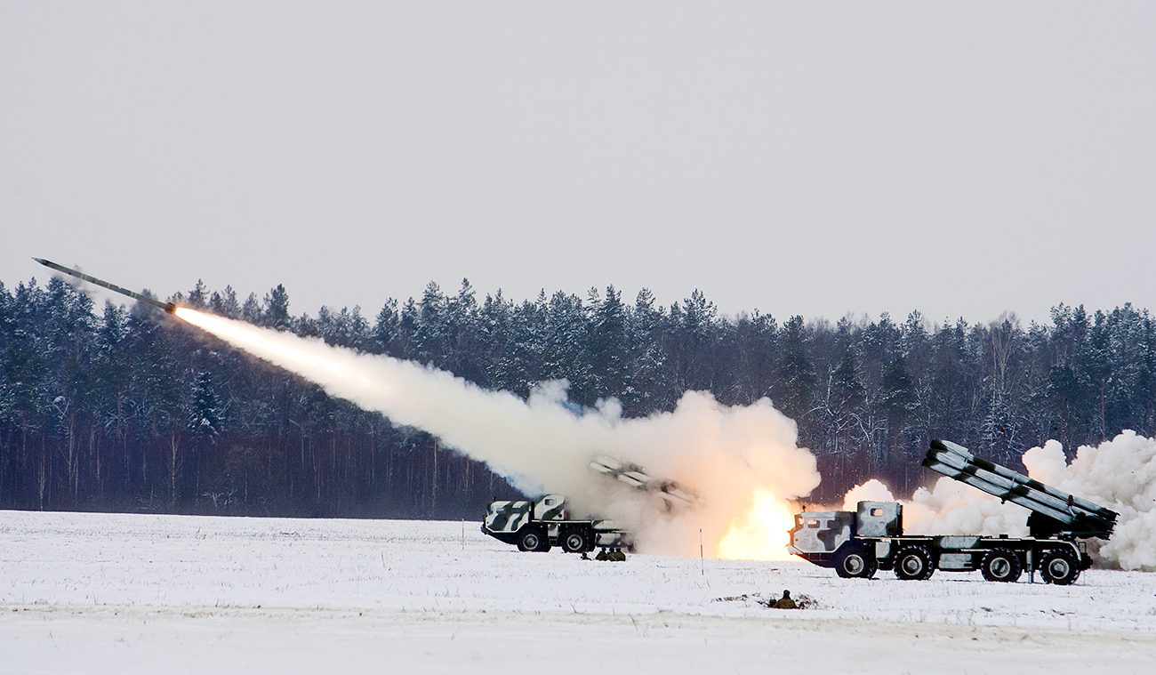 Live firing of Smerch multiple-launch rocket systems at a shooting range near Baranovichi during combat exercises.