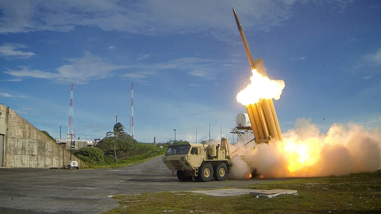 A Terminal High Altitude Area Defense (THAAD) interceptor is launched during a intercept test, in this undated handout photo provided by the U.S. Department of Defense, Missile Defense Agency.