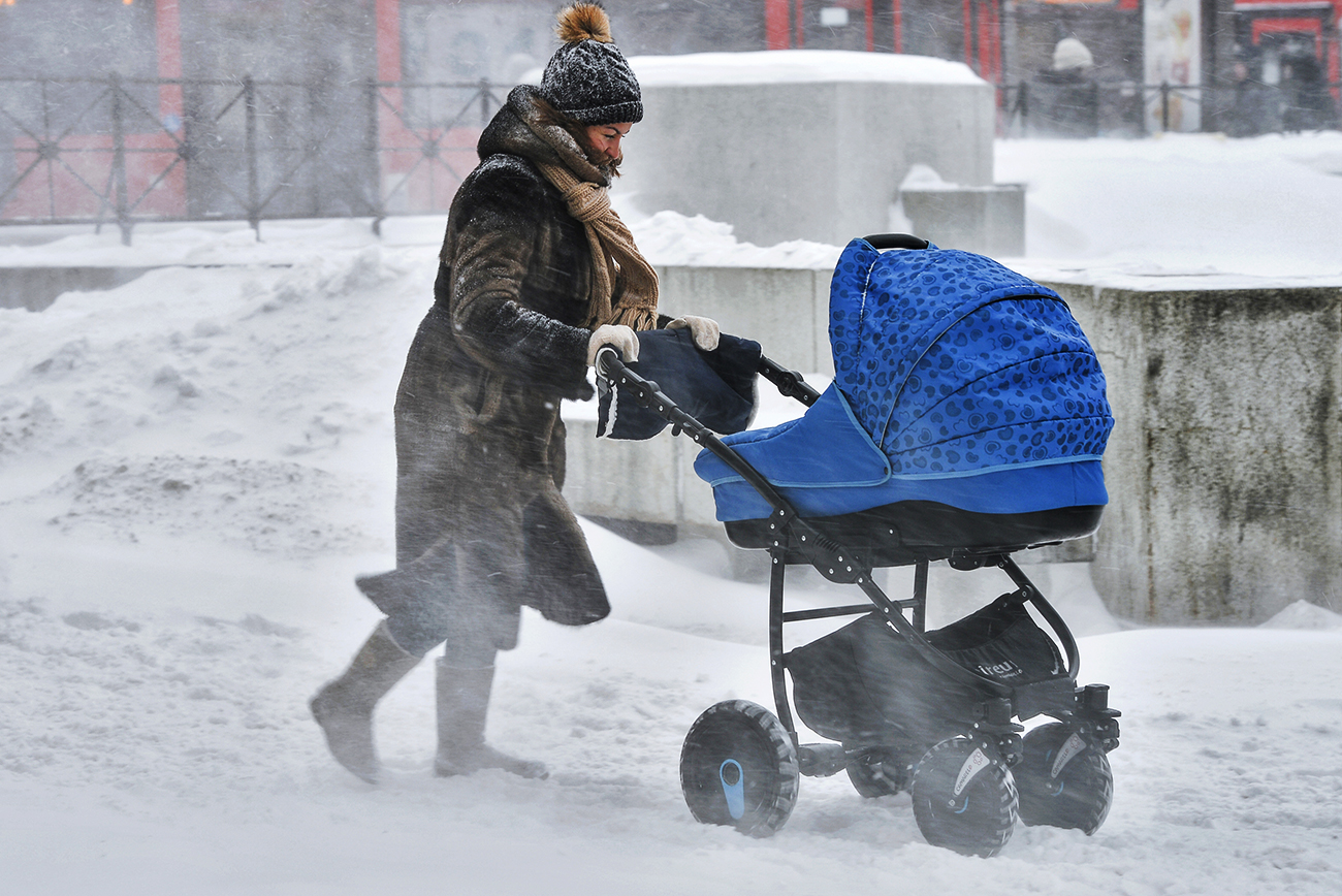 In Russia, every infant sleeps outside in the carriage even in minus 10 degree Celsius weather. Pictured: snowstorm in Kazan.