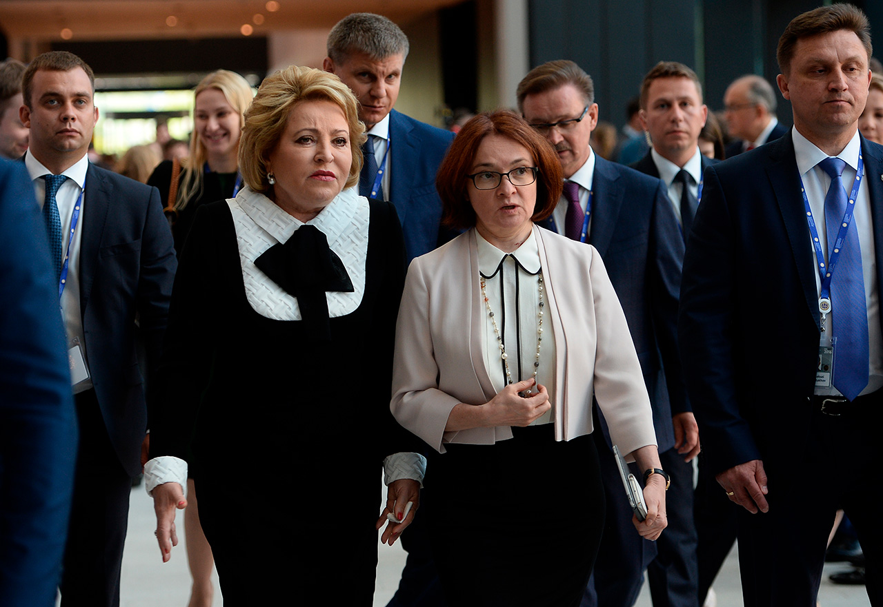 Federation Council Speaker Valentina Matviyenko, left, and the Central Bank's Chairperson Elvira Nabiullina at the 20th St. Petersburg International Economic Forum.