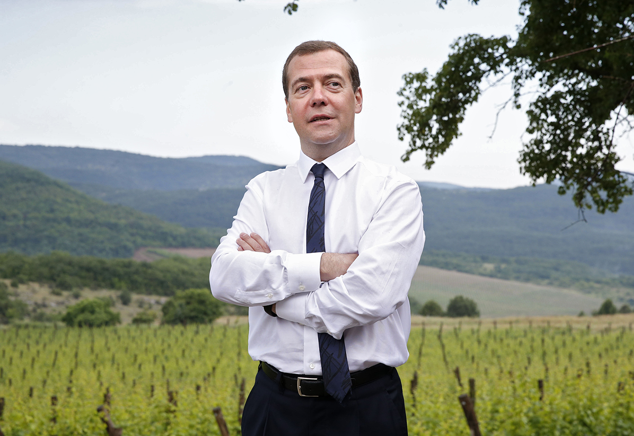 FILE  June 15, 2015. Russian Prime Minister Dmitry Medvedev at Terruar agricultural production cooperative in Rodnoye village near Yalta.