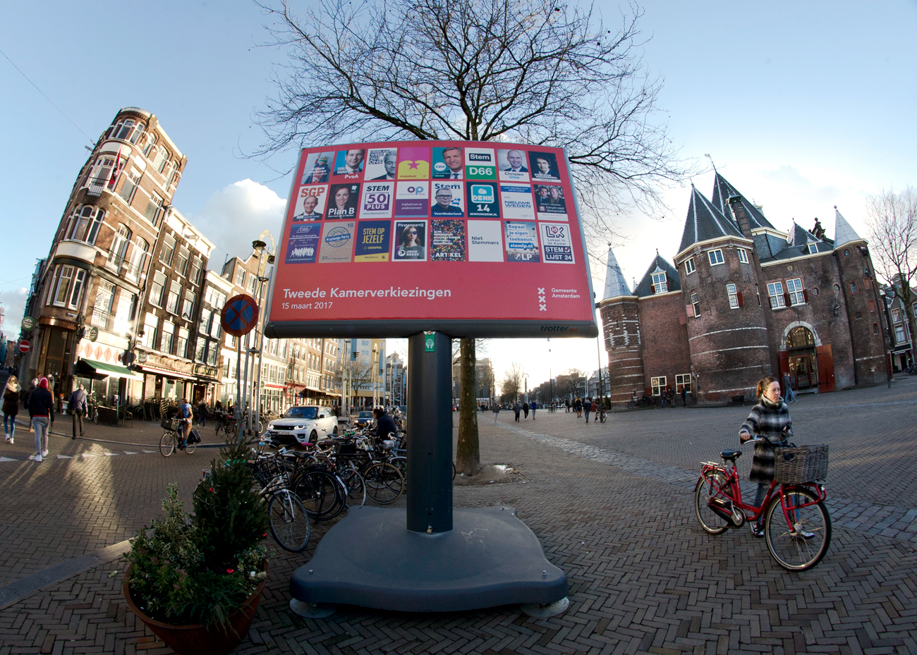 An election billboard is out up in a square in the center of Amsterdam, Netherlands.