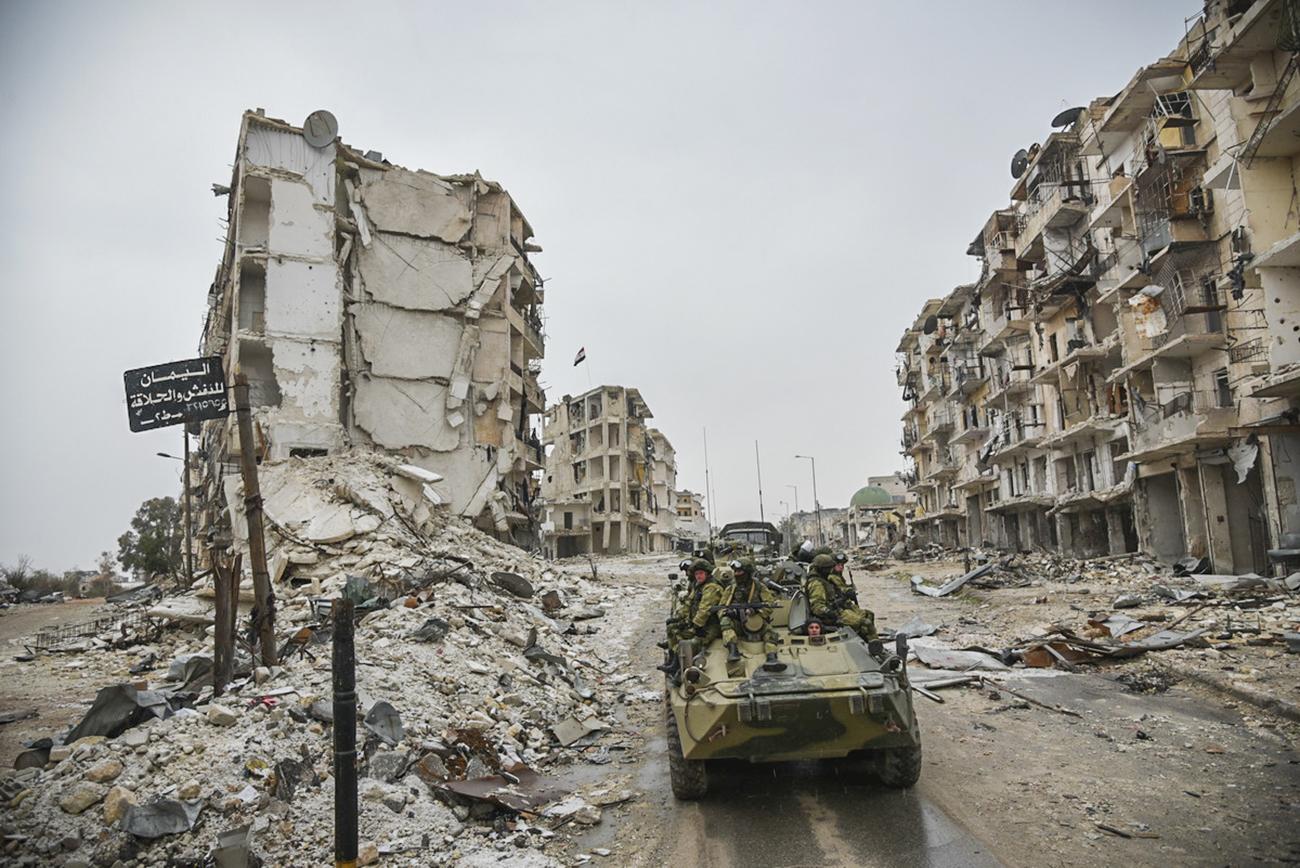 Tentara Suriah sedang beroperasi di Aleppo, Suriah.