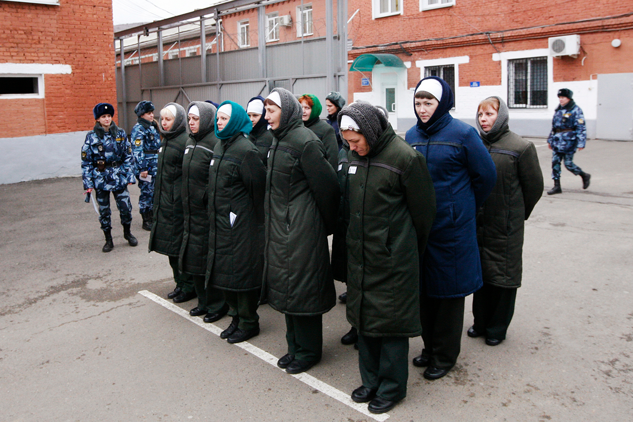 Photo: Inmates stand in line before reporting for work inside female prison camp Number 22 in Russia's Siberian city of Krasnoyarsk.