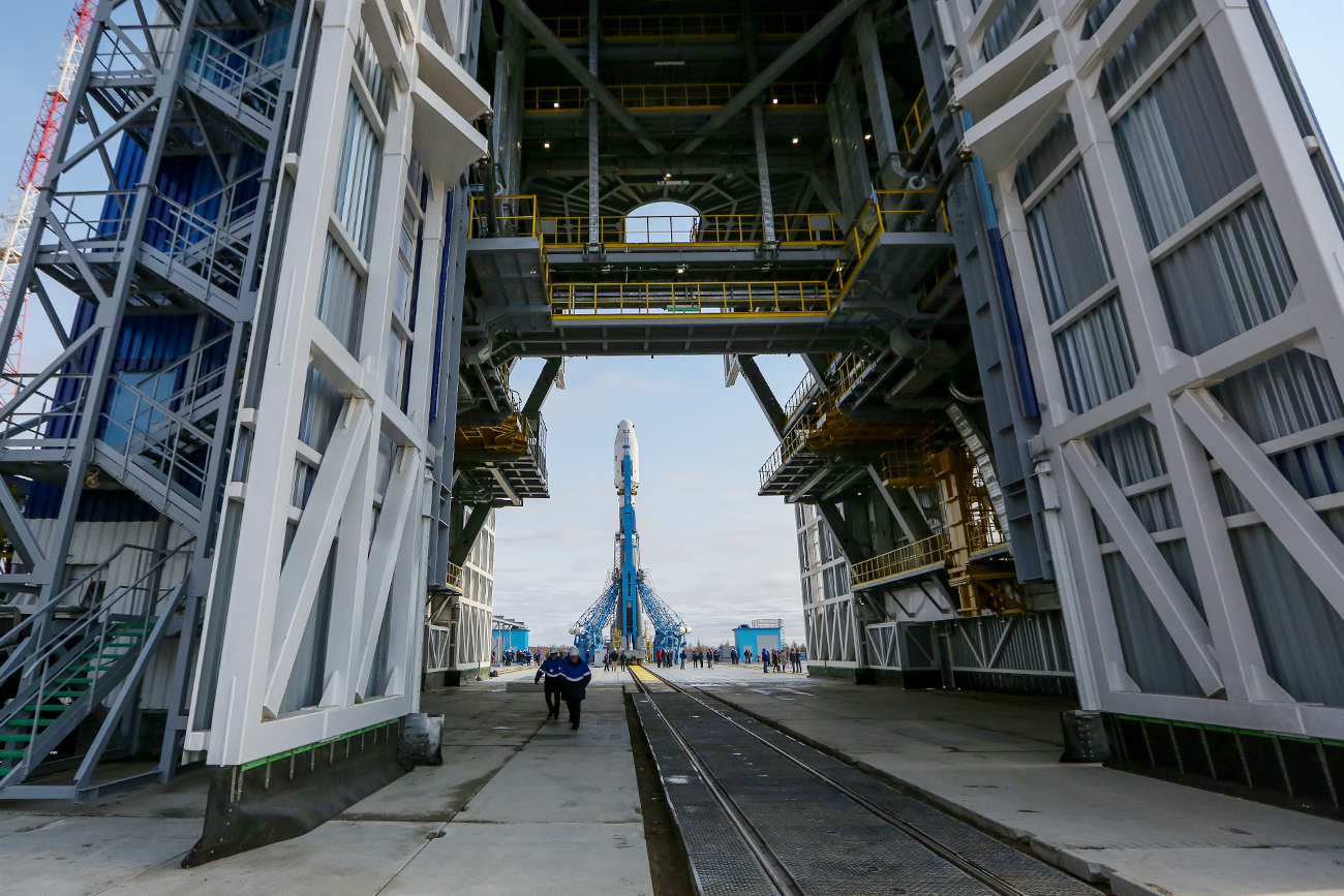 Soyuz-2.1a carrier vehicle at  the Vostochny space center's launch pad.