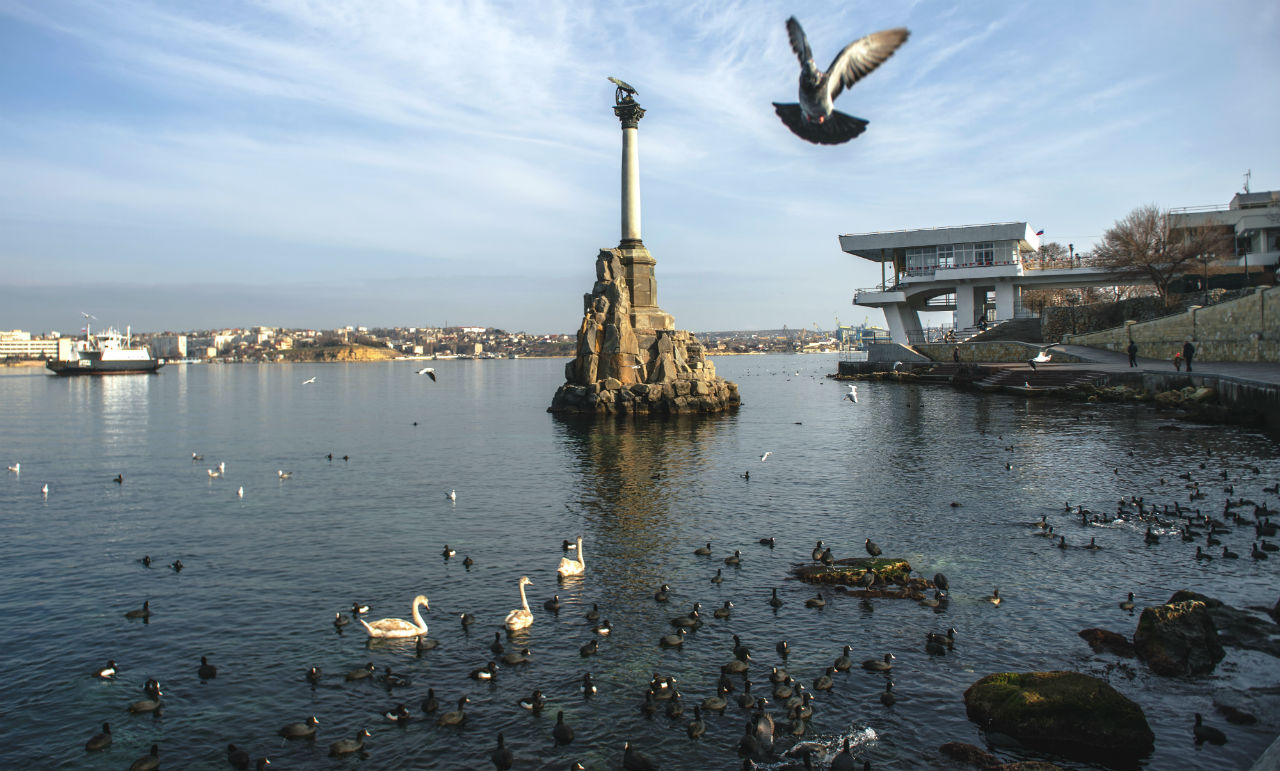 View of the Monument to Sunken Ships in Sevastopol. 01/21/2015