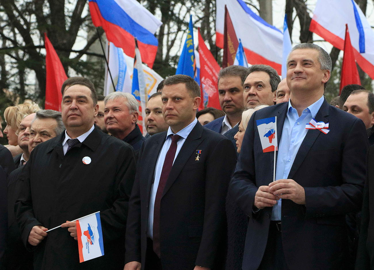 Igor Plotnitsky, leader of LNR, Alexander Zakharchenko, the head of DNR, and Sergei Aksyonov, the Crimean Prime Minister, Simferopol, March 16, 2017. / Photo: Reuters