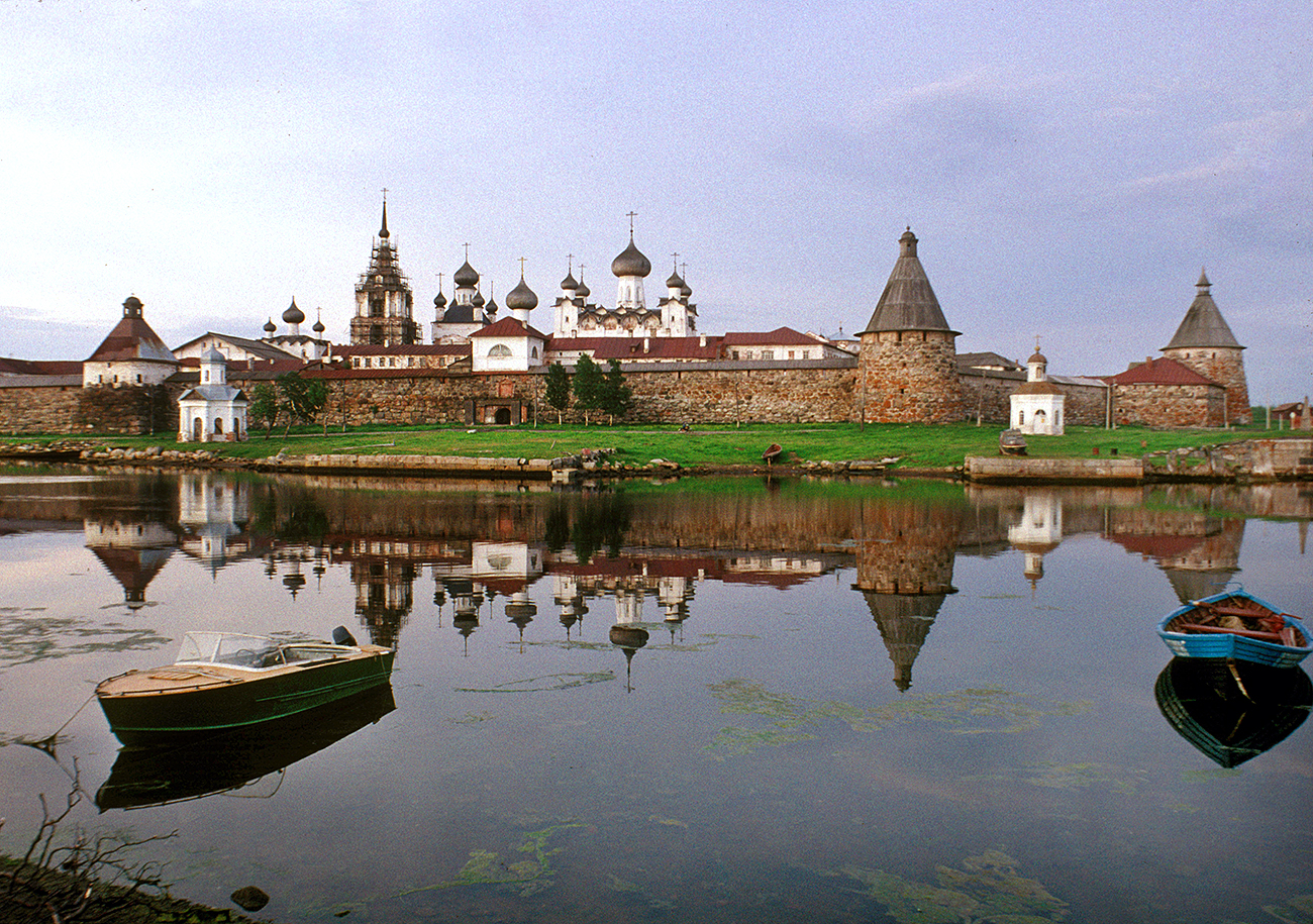 Solovetsky Transfiguration Monastery, southwest view across Bay of Felicity. Dusk at midnight, June 29, 1999.