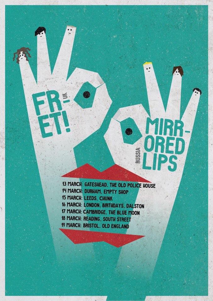Mirrored Lips UK tour poster. / Press photo