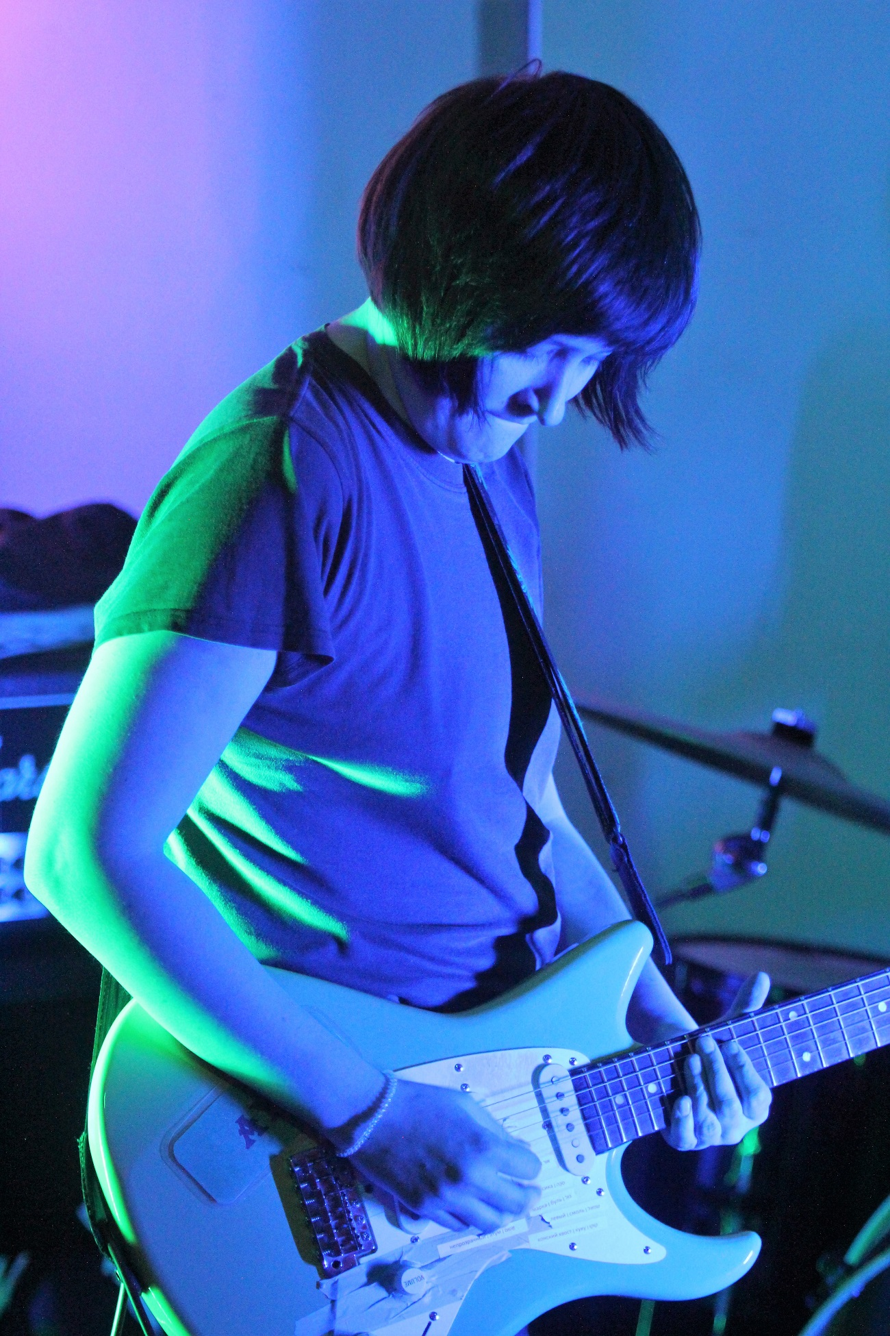 Mirrored Lips' guitarist Sasha Philippova playing at Empty Shop. Source: Andy Potts