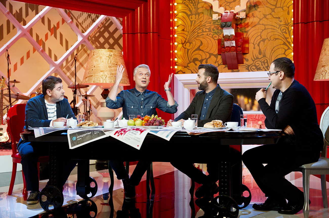 TV hosts Alexander Tsekalo, Sergei Svetlakov, Ivan Urgant and Garik Martirosyan, from left, during the filming of Prozhektorparishilton program for Channel One.