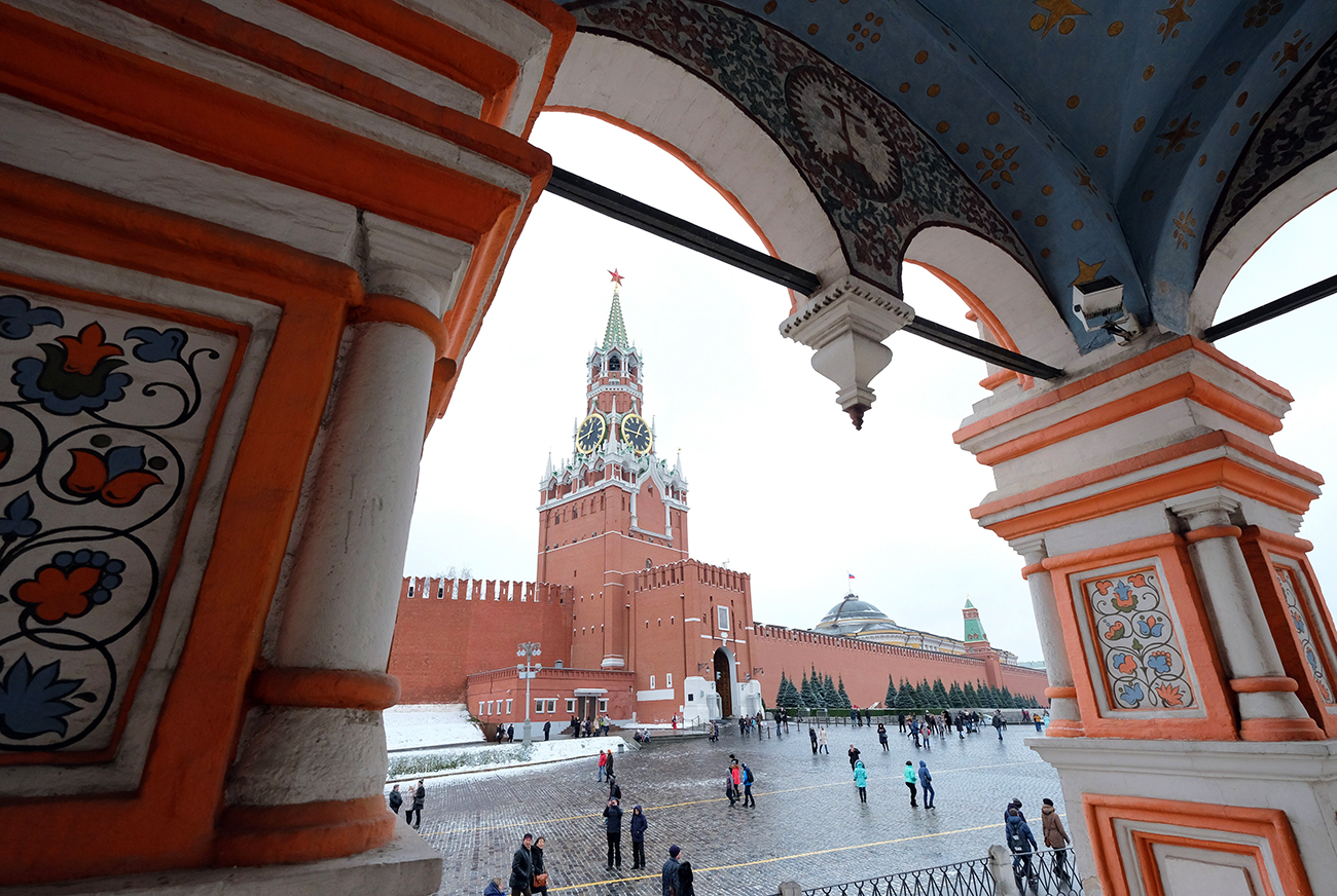 A section of the Kremlin wall in Moscow, Russia, 26 November 2016