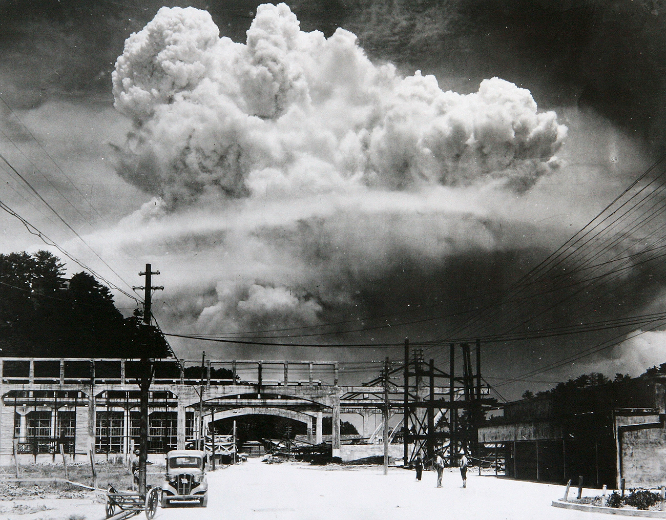 View of the radioactive plume from the bomb dropped on Nagasaki City, as seen from 9.6 km away, in Koyagi-jima, Japan, August 9, 1945. The US B-29 superfortress Bockscar dropped the atomic bomb nicknamed 'Fat Man,' which detonated above the ground, on northern part of Nagasaki City just after 11am.
