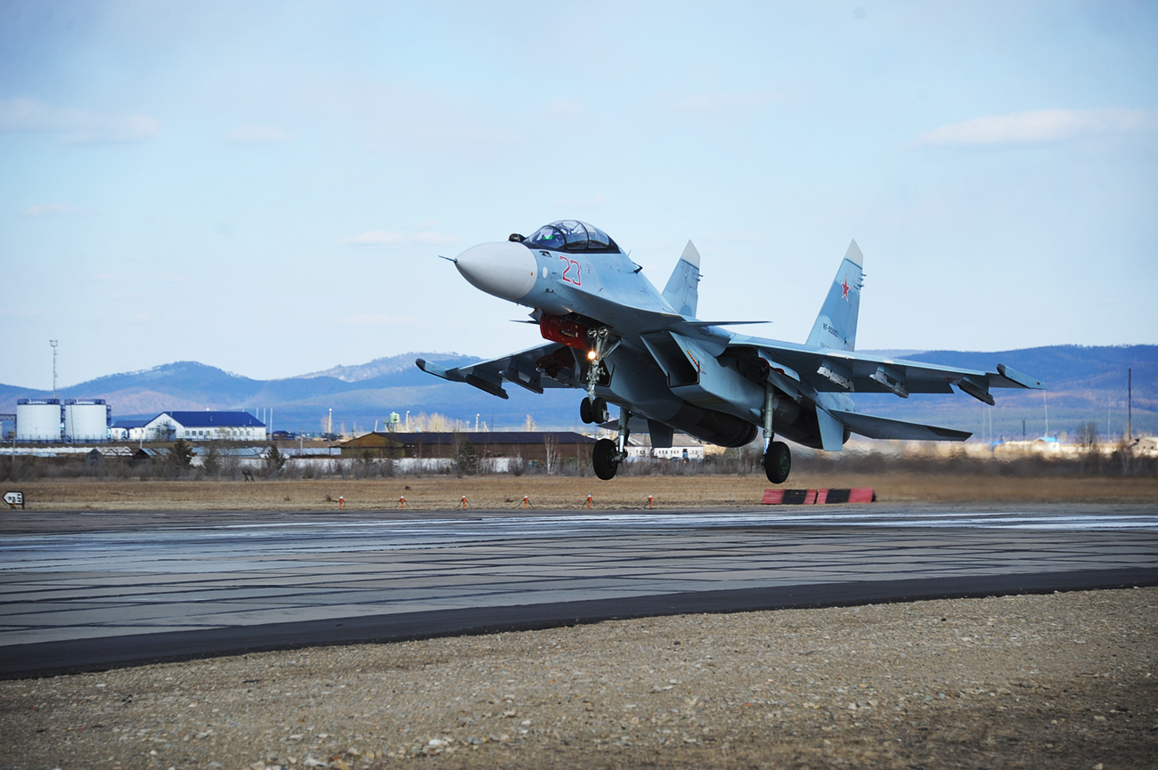 A Su-30SM fighter jet on a training mission.