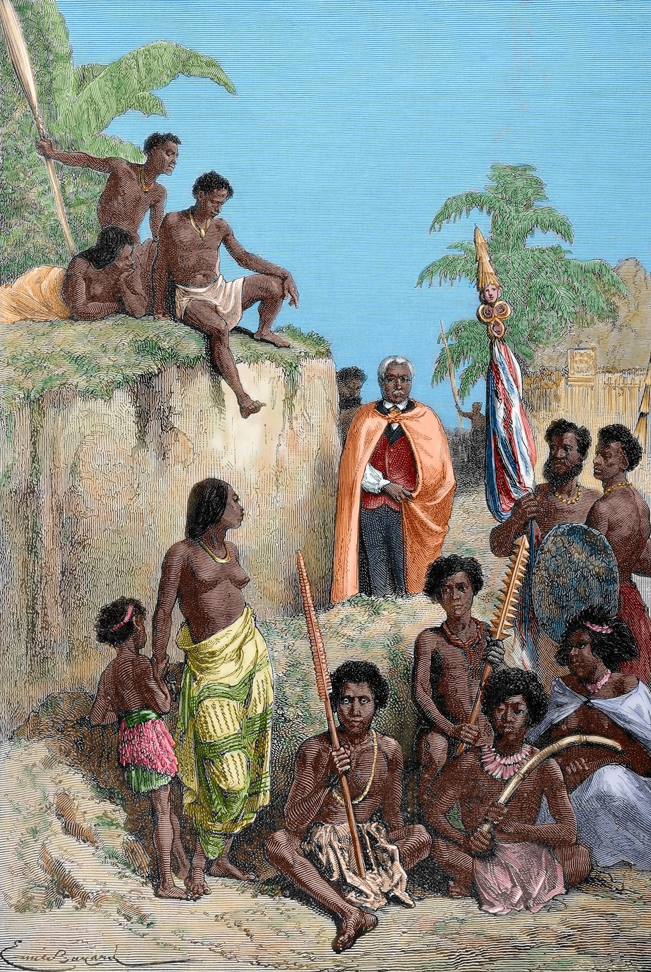 King of Hawaii Island, Kamehameha I (1758-1819) and his warriors, 1819. Engraving by E. Bayard / The Illustrated World, 1880. Source: Getty Images