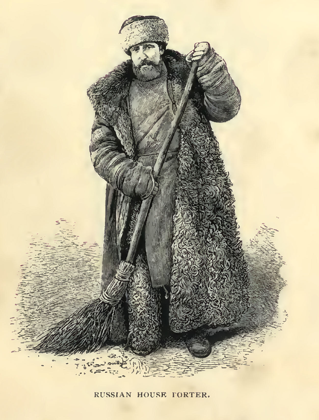 Russian House Porter. Illustration in Around the Kremlin; or, Pictures of life in Moscow by Lowth, G. T. (George T.). Published in 1868. Source: Photo: California Digital Library