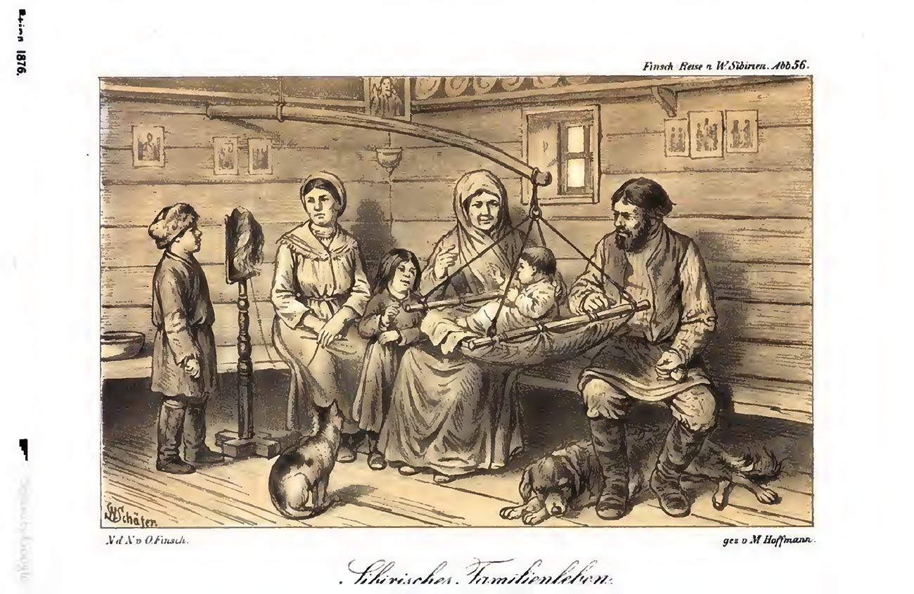Siberian people. An illustration in Reise nach West-sibirien im Jahre 1876 by Otto Finsch. Published 1879