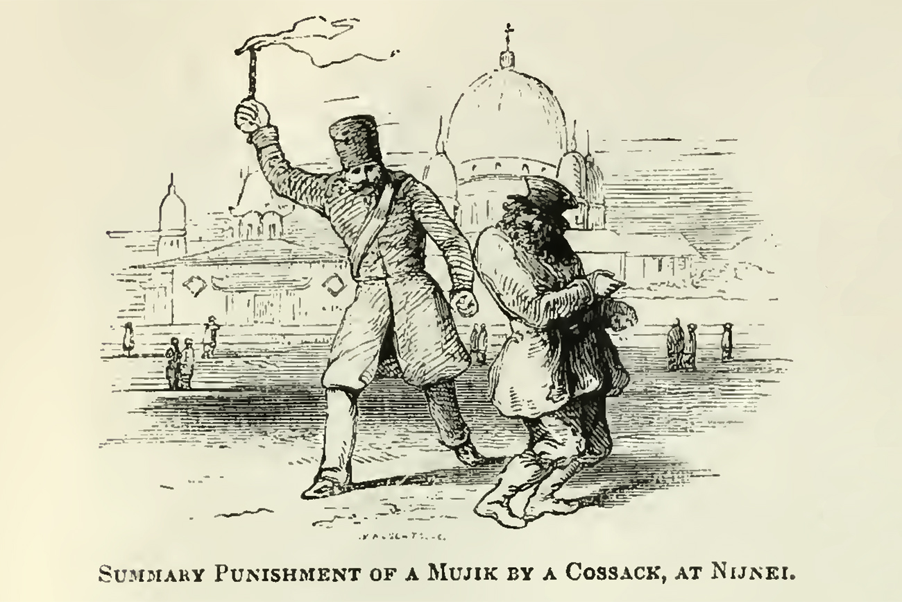Punishment of Mujik by Cossack, Nizhny Novgorod, illustration in 'An illustrated description of the Russian empire' by Sears, Robert, 1810-1892. Published in 1855. Source: Photo: University of California Libraries