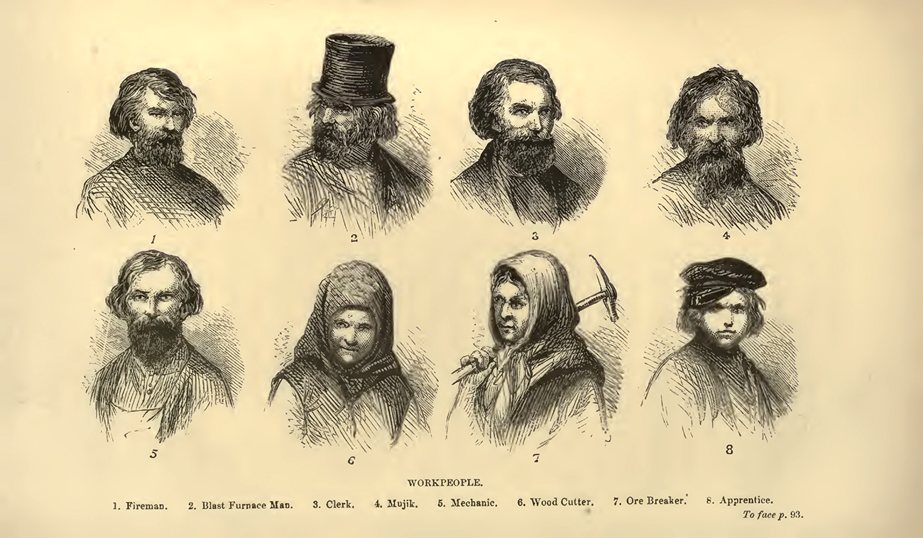 """Russian workpeople. Illustration in """"Ivan at home; or, Pictures of Russian life"""" by Herbert Barry. Published in 1872. Source: University of California Libraries"""