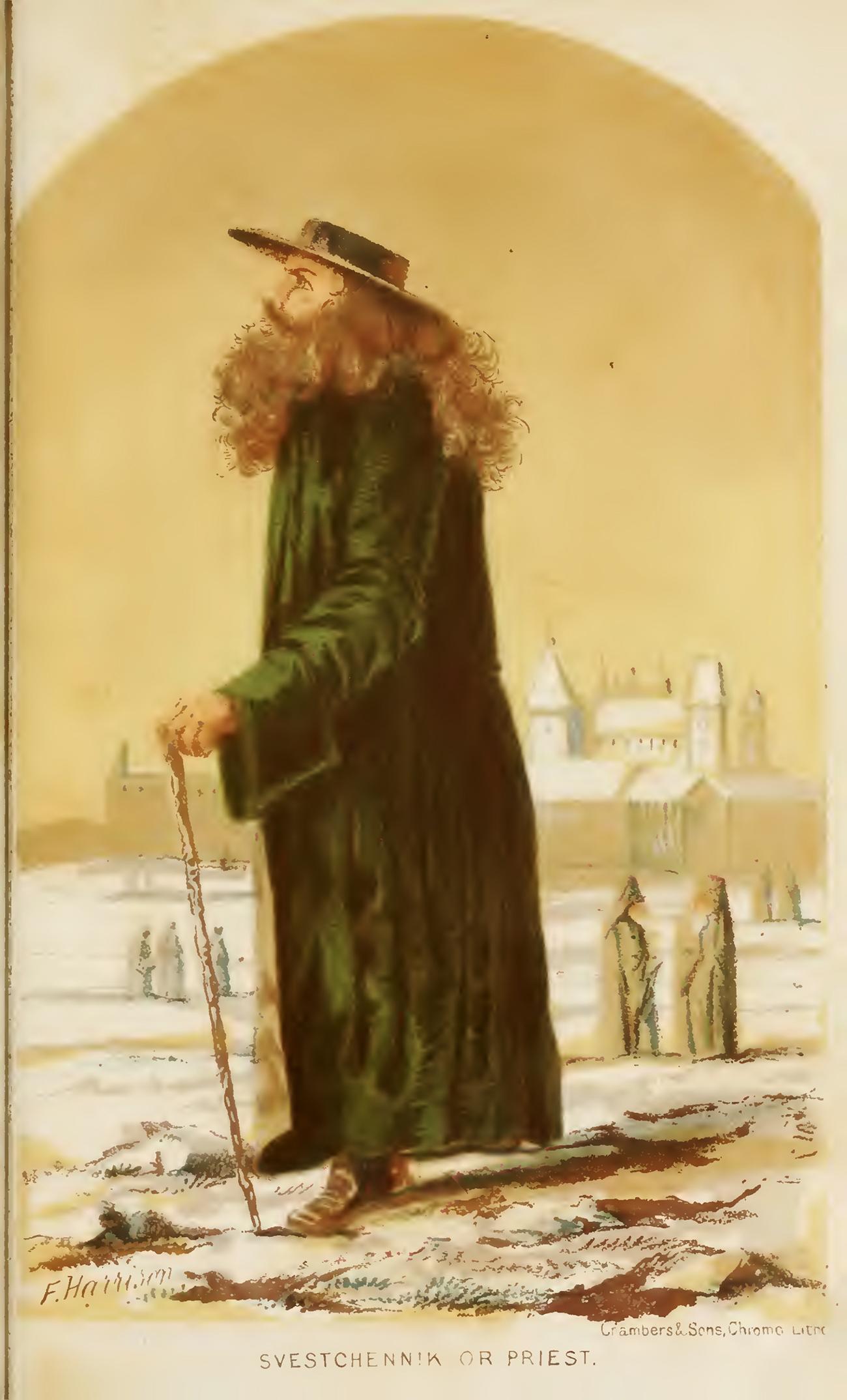 Un prêtre. Illustration tirée du livre Note d'un séjour de 9 ans en Russie de 1844 à 1853: avec les remarques des tsars Nicolas I et Alexandre II par Robert Harrison, publié en 1855.n