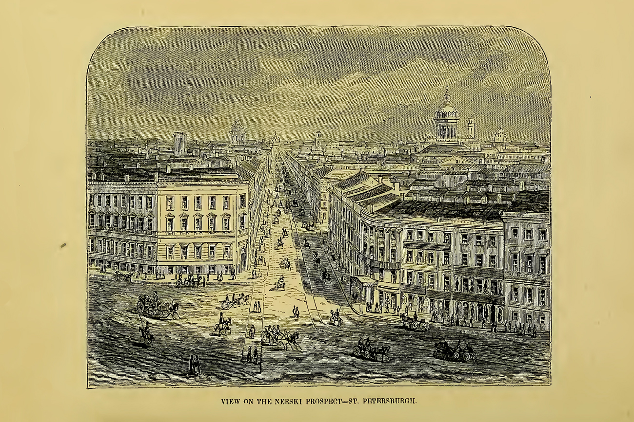 """View on the Nevsky Prospect - St. Petersburg. Illustration in """"Overland through Asia. Pictures of Siberian, Chinese, and Tartar life"""" by Thomas Wallace Knox, 1835-1896. Published in 1870. Source: The Library of Congress"""