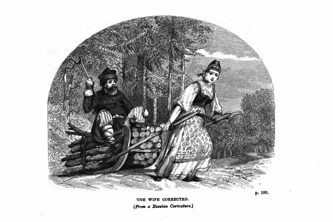 La femme connectée (d'après une caricature russe). Illustration du livre La Russie à travers les lettres d'un récent voyageurde Charles Henry Pearson, publié en 1859.n