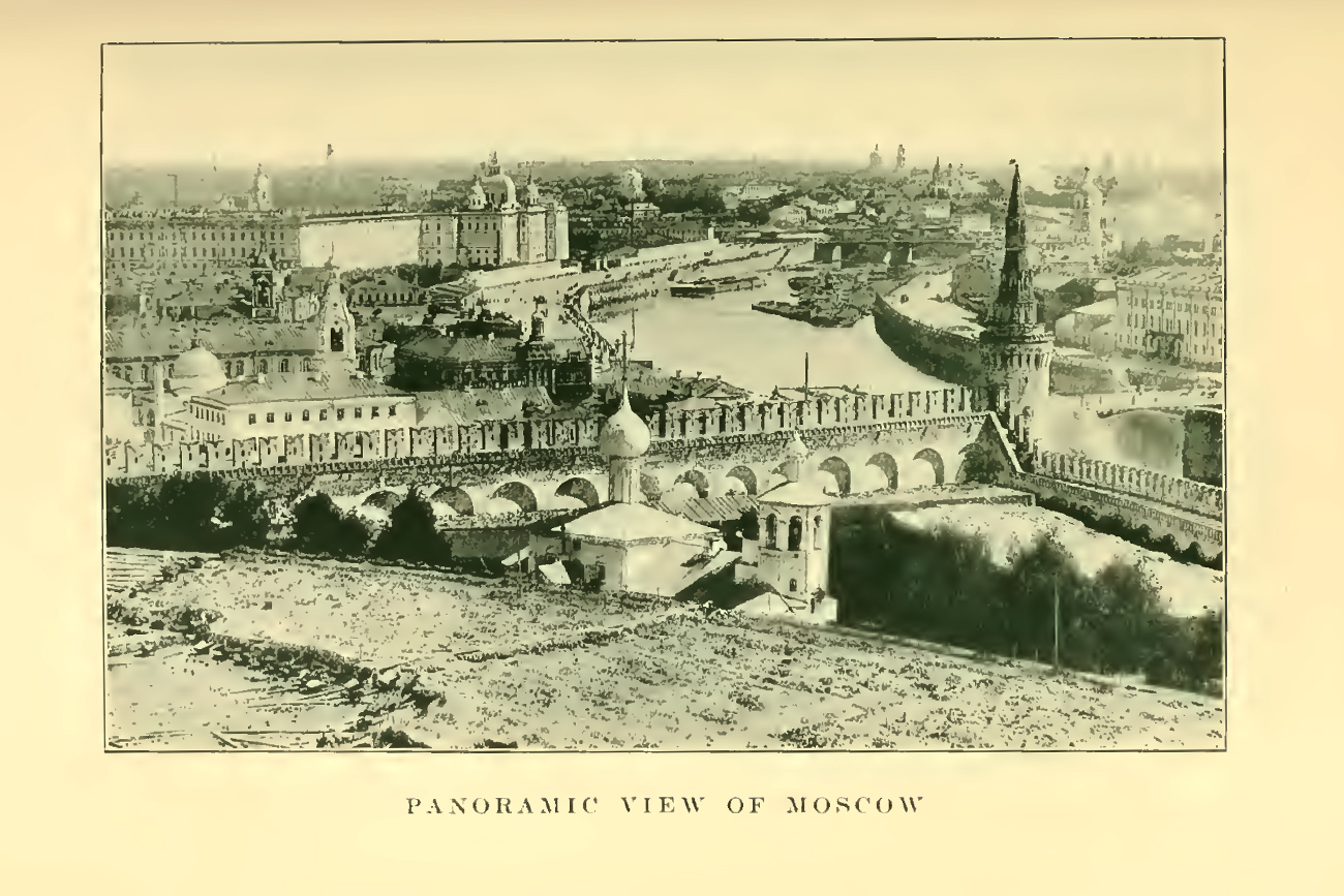 Panoramic view of Moscow. Иллюстрация из книги Russia : its history and condition to 1877by Wallace, Donald Mackenzie, Sir, 1841-1919; Villari, Luigi, 1876-Published 1910