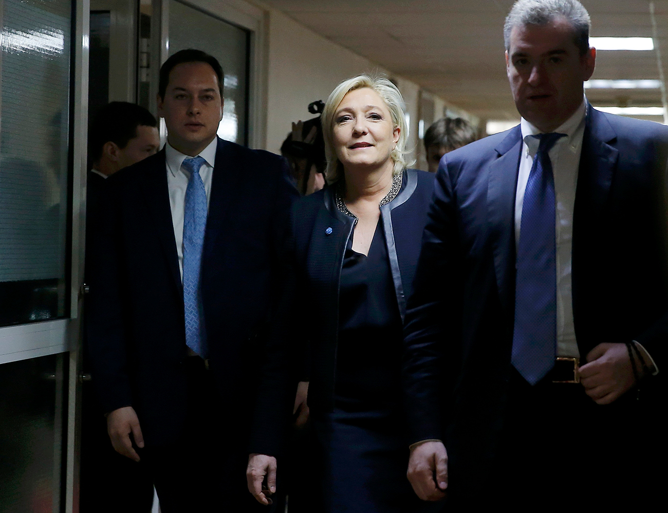 Candidate for the 2017 presidential election Marine Le Pen, French National Front political party leader, arrives for a meeting with members of the State Duma, the Russian lower house of parliament's international affairs committee, in Moscow, March 24, 2017.