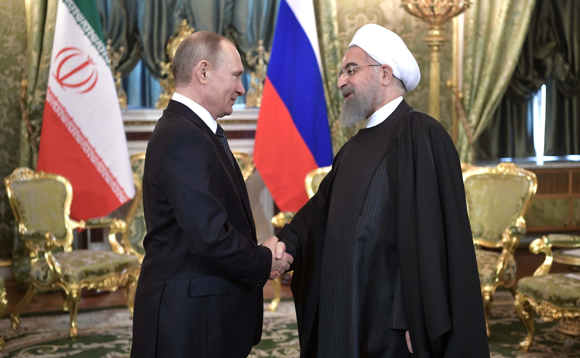 Russian President Vladimir Putin and Iranian President Hassan Rouhani meet in Moscow, on March 28, 2017.