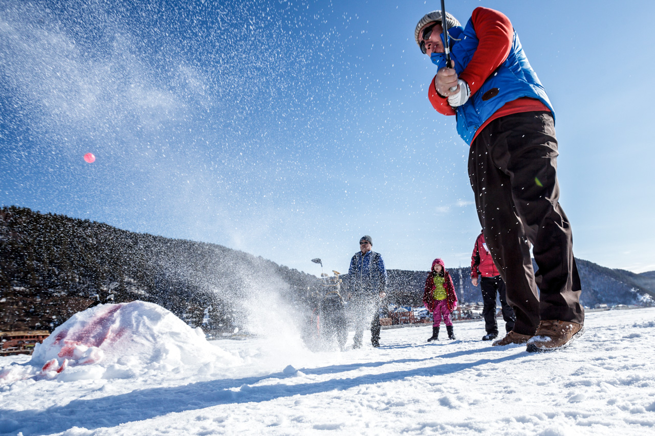 """Unlike golf on grass, winter golf is unpredictable, which makes it more interesting,"" says Yuri Milvit, chairman of the Golf Federation Council of the Irkutsk Region. The best outfit for ice golf is a ski suit and trekking boots with spurs to better grip the surface of the frozen lake."